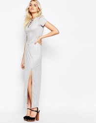 Daisy Street Maxi Dress With Side Split And Lace Up Neckline Grey