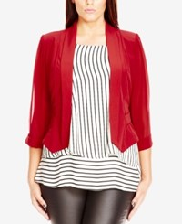 City Chic Plus Size Sheer Sleeve Cropped Blazer Red