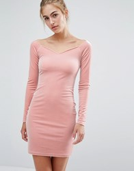 Miss Selfridge Velvet Sweetheart Dress Pink