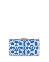 Alice Olivia Crane Print Hard Shell Clutch Bag Blue White