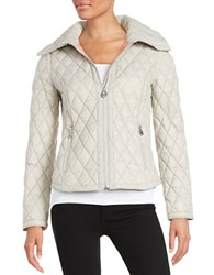Michael Michael Kors Diamond Quilted Down Jacket Silver