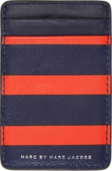 Marc By Marc Jacobs Navy And Red Striped Grained Leather Card Holder