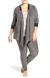 Dkny Plus Size Women's Fleece Cardigan And Leggings Charcoal Faux Heather