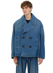 J.W.Anderson Oversized Denim Pea Coat Blue