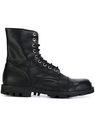 Diesel Military Lace Up Boots Black