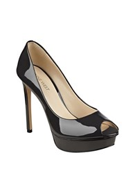 Nine West Edlyn Patent Peep Toe Pumps Dark Grey