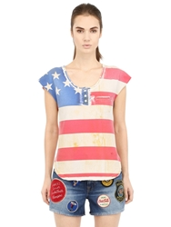 People American Flag Printed Cotton T Shirt Red