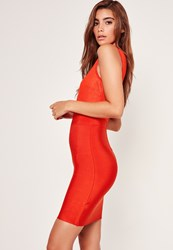 Missguided Premium Lace Top V Plunge Bandage Dress Red