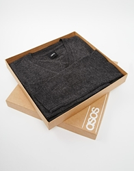 Asos Merino V Neck Jumper In Gift Box Charcoal