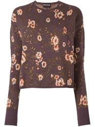 Rochas Floral Intarsia Jumper Pink Purple