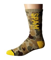 Huf Spam Crew Sock Frogskin Camo Men's Crew Cut Socks Shoes Yellow