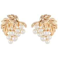 Susan Caplan Vintage 1950S Trifari Gold Plated Faux Pearl And Leaf Earrings Gold