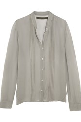 Enza Costa Pintucked Georgette Shirt Gray