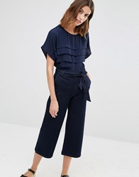 Warehouse Pleated Top Navy