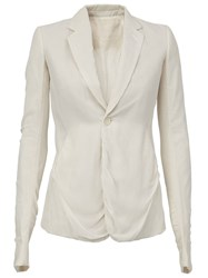 Rick Owens One Button Blazer White