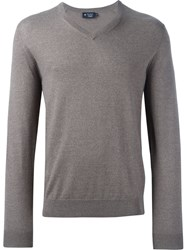 Hackett V Neck Fine Knit Jumper Brown