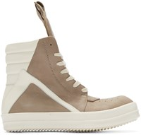 Rick Owens Taupe And Cream Geobasket High Top Sneakers