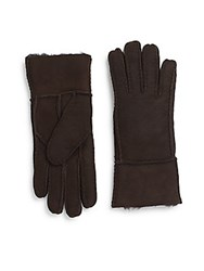 Saks Fifth Avenue Shearling Lined Suede Gloves Brown