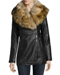 Love Token Long Vegan Leather Jacket W Faux Fur Trim Black