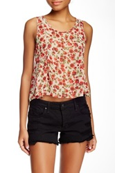 Lush Hi Lo Crochet Detail Sleeveless Tank Juniors Pink