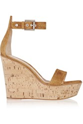 Gianvito Rossi Suede Wedge Sandals Brown