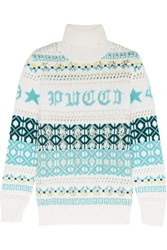 Emilio Pucci Embellished Intarsia Wool Turtleneck Sweater Ivory