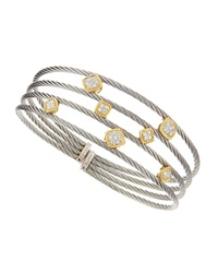 Alor Square Diamond Station Cable Bangle Yellow Gold