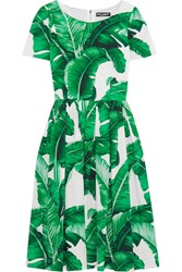 Dolce And Gabbana Printed Cotton Poplin Dress Green
