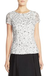 Women's Adrianna Papell Short Sleeve Sequin Mesh Top Ivory