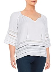 Bb Dakota Plus Mesh Inset Poncho Blouse White