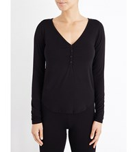 Wildfox Couture Dreaming Of You Stretch Jersey Henley Top Clean Black