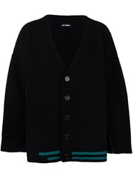 Raf Simons Striped V Neck Cardigan Black
