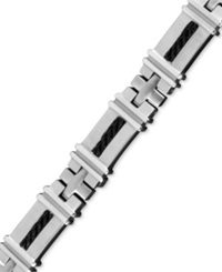 Macy's Men's Stainless Steel And Black Ion Plated Stainless Steel Bracelet Cable Link