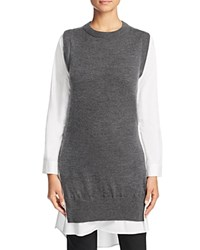 Dkny Pure Mixed Media Tunic Charcoal Heather
