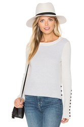 White Warren Button Crew Neck Sweater Gray