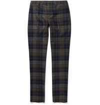 Etro Slim Fit Checked Wool Blend Trousers Blue