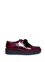 Marc By Marc Jacobs 'Kent' Velvet Tie Platform Leather Creepers Red