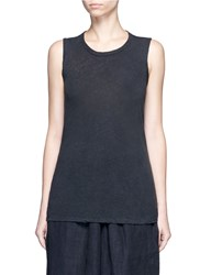 James Perse Tomboy' Linen Cotton Tank Top Black