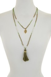 Elise M. Accessories Autumn Double Layer Beaded Leaf Charm Necklace Green