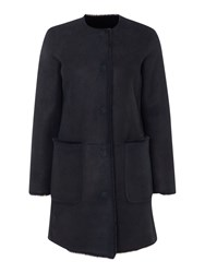 Gant Reversible Shearling Coat Blue