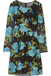 Mikael Aghal Floral Embroidered Tulle Dress Navy