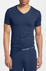 Calvin Klein Men's 'U5563' V Neck Micromodal T Shirt Blue Shadow