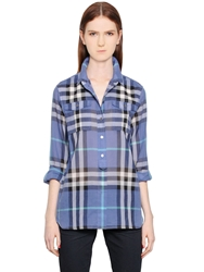 Burberry Check Printed Cotton Voile Shirt Blue