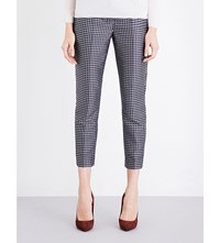 Max Mara S Cropped Grid Pattern Jacquard Trousers Navy