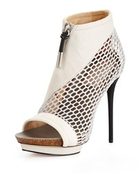 L.A.M.B. Bicara Mesh Leather Platform Sandal Light Gray