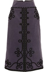 Temperley London Voyage Embroidered Cotton Blend Corduroy Midi Skirt Grape
