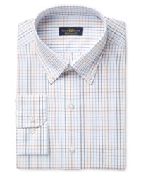 Club Room Estate Men's Classic Fit Wrinkle Resistant Rust Blue Windowpane Dress Shirt Only At Macy's