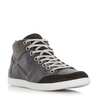 Dune Sacremento Lace Up High Top Trainers Grey
