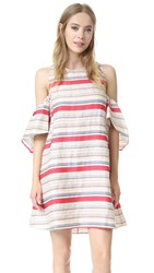 Tanya Taylor Textured Stripe Nola Dress Wheat Multi