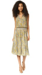 Twelfth St. By Cynthia Vincent Smocked Waist Dress Marigold Multi